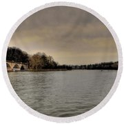 Schuylkill River On A Cloudy Day Round Beach Towel by Bill Cannon