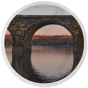Schuylkill River Railroad Bridge In Autumn Round Beach Towel