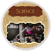 Science Button Round Beach Towel by Mike Savad