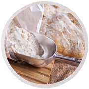 Scoop Of Flour And Fresh Bread Round Beach Towel