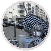 Scooter In The Spotlight Round Beach Towel
