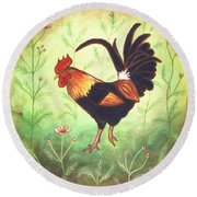 Scooter The Rooster Round Beach Towel