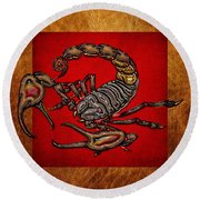 Scorpion On Red And Brown Leather Round Beach Towel