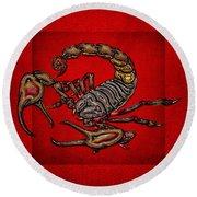 Scorpion On Red Round Beach Towel