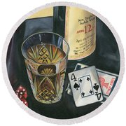 Scotch And Cigars 2 Round Beach Towel by Debbie DeWitt