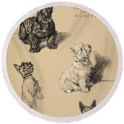 Scotch Terrier And White Westie Round Beach Towel