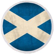 Scotland Flag Vintage Distressed Finish Round Beach Towel by Design Turnpike