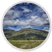 Scotland Loch Awe Mountain Landscape Round Beach Towel