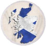 Scotland Map Art With Flag Design Round Beach Towel