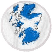 Scotland Painted Flag Map Round Beach Towel