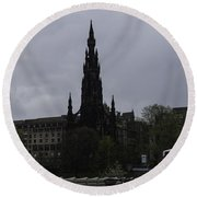 Scott Monument Next To Waverley Train Station And With Sightseeing Buses Round Beach Towel