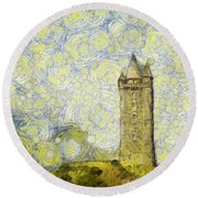 Starry Scrabo Tower Round Beach Towel