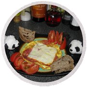 Scrambled Eggs Salami And Cheese For Breakfast. Travelling Baby Pandas Series. Round Beach Towel