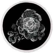 Scratched Rose Round Beach Towel