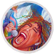 Screamin Angel Round Beach Towel
