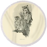Screech Owls Round Beach Towel