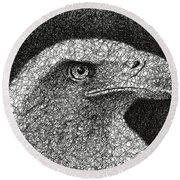 Scribble Eagle Round Beach Towel