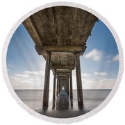 Scripps Pier Long Exposure Round Beach Towel