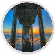 Scripps Pier Sunset Round Beach Towel