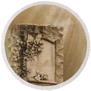 Scroll And Flowers The Forgotten Series 12 Round Beach Towel
