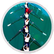 Rowing In The Sun Round Beach Towel