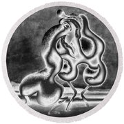 Sculpture Of Passion Round Beach Towel