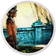 Sculpture Park In Nassau Bahamas Round Beach Towel