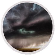 Sculpture - Turquoise Colored Storm Over Kansas Plains Round Beach Towel