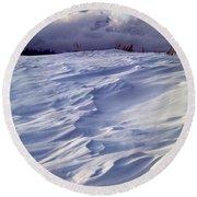 1m9347-sculptured Snow And Grand Teton Round Beach Towel