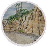 Sd Cliffs Round Beach Towel