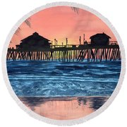 Sd Dock At Sunset Round Beach Towel