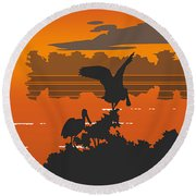 Abstract Tropical Birds Sunset Large Pop Art Nouveau Landscape 4 - Right Side Round Beach Towel