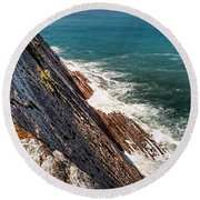 Sea And Cliff Round Beach Towel