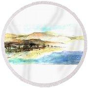 Sea And Mountains Round Beach Towel