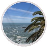 Sea And Palm Tree Round Beach Towel