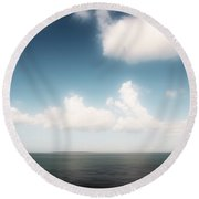 Sea And Sky - Clouds And Horizon Round Beach Towel