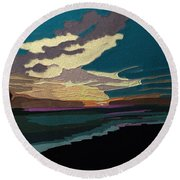 Sea And Sky In Colour Round Beach Towel