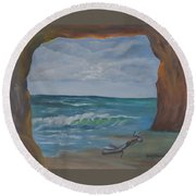 Sea Cave Round Beach Towel