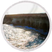 Sea Caves Round Beach Towel
