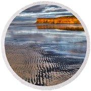 Sea Coal Saltburn Sunset Round Beach Towel