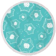 Sea Flower Round Beach Towel by Susan Claire