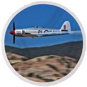 Sea Fury Fly-by Round Beach Towel