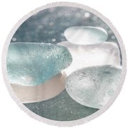 Sea Glass Aqua Sparkle Round Beach Towel by Barbara McMahon