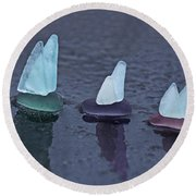 Sea Glass Flotilla Round Beach Towel