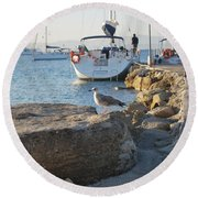 Sea Gull 1 Round Beach Towel