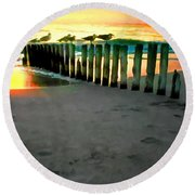 Sea Gulls On Pilings At Sunset Round Beach Towel