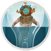 Sea Life  Round Beach Towel