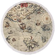 Sea Map By Olaus Magnus Round Beach Towel