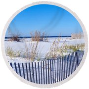 Sea Oats And Fence Along White Sand Round Beach Towel