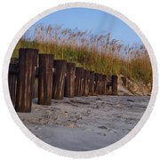 Sea Oats And Pilings Round Beach Towel